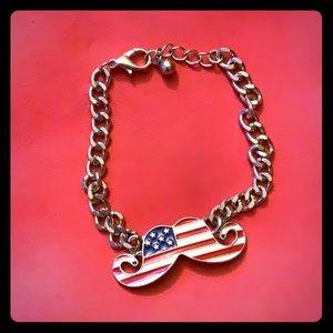 American Flag Mustache Ladies Bracelet